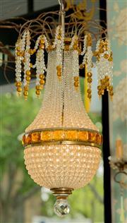 Sale 8448A - Lot 63 - Beautiful & very rare antique Czech beaded basket style chandelier featuring hand cut Czech beads and handcut Czech amber baguette c...