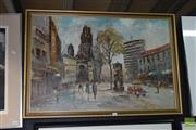 Sale 8506 - Lot 2048 - Oil on Board, Signed A.Morgan Paris Street Scene 60x90cm