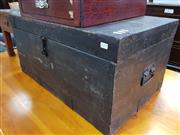 Sale 8714 - Lot 1091 - Antique Painted Pine Chest, with metal strap-work