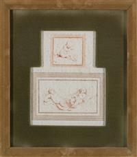 Sale 8934H - Lot 64 - A framed engraving of infants, frame size 36 x 32 cm