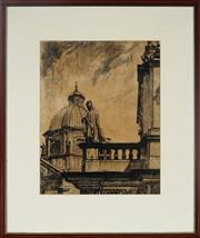Sale 8964 - Lot 2030 - Artist Unknown Pope Addresses Audiencedrypoint etching, ed. 6/150, signed lower right