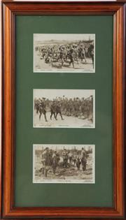 Sale 8994W - Lot 634 - A Framed Set Of Three Daily Mail Lithographic War Photos OOf The Anzacs In France ( 50cm x 29cm)