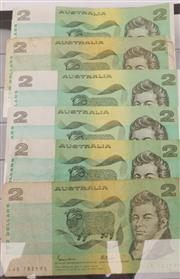 Sale 9052 - Lot 140 - Six Australian $2 Bank Notes