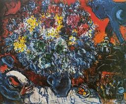 Sale 9108A - Lot 5016 - Marc Chagall (1887 - 1985) - Bouquet de Fleur et Amants 60 x 78 cm (sheet)