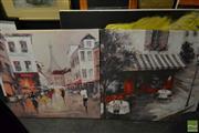 Sale 8495 - Lot 2047 - Pair of large framed canvas prints, Parisian Scenes