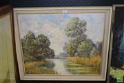 Sale 8506 - Lot 2037 - Oil on Board, signed GA Bond, River Landscape with Cattle, 45x55cm