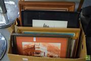 Sale 8530 - Lot 2040 - Box of Assorted Artworks incl W.Wrightson Windsor Street, Paddington, pen & wash, signed