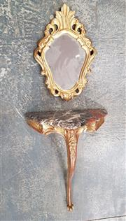 Sale 8848 - Lot 1091 - Small 18th Century Style Gilt Wall Mounted Console Table, with small mirror, marble top & single cabriole leg