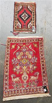 Sale 8868 - Lot 1595 - Two Small Persian Door Mats (Biggest: 85 x 60cm)