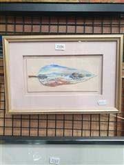 Sale 8941 - Lot 2031 - Pam Kellaher - Mount Laura, Whyalla, SA oil on mallee leaf, 11 x 21cm, signed -