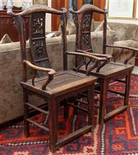 Sale 8934H - Lot 80 - A pair of Chinese Elm emperor chairs, Height 118cm x Width 70cm x Depth 41cm