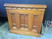 Sale 9031 - Lot 1009 - Early 20th Century Oak Ecclesiastical Pulpit or Lectern, with gothic tracery panels & rosettes, with shelves to the back