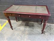 Sale 9048 - Lot 1086 - Victorian Mahogany Desk, with tooled green leather top, two frieze drawers & on turned legs (h:76 x w:122 x d:76cm)