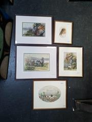 Sale 9058 - Lot 2099 - Artists unknown (5 works); watercolour paintings; frame: 35 x 42 cm (largest); unsigned