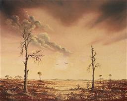 Sale 9099A - Lot 5062 - John Dynon (1954 - ) - Birds of Mundi Mundi, Broken Hill , 1983 39.5 x 49.5 cm (frame: 59 x 69 x 4 cm)