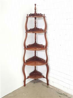 Sale 9154 - Lot 1084 - Timber 5 tier what not (h:162cm)