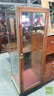 Sale 8375 - Lot 1078 - Vintage Oak, Brass & Glass Shops Display Cabinet
