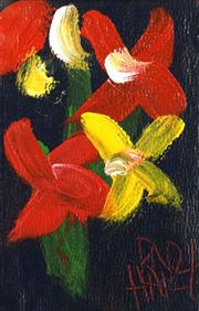 Sale 8459 - Lot 518 - Kevin Charles (Pro) Hart (1928 - 2006) - Flowers 12 x 7.5cm