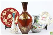 Sale 8521 - Lot 188 - Oriental Vase with Garden Motif together with Bavaria Vase and Small Fine Example inc Wedgewood Cabinet Plate and Another