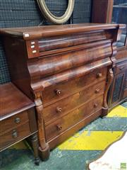 Sale 8617 - Lot 1092 - Victorian Scottish Flame Mahogany Chest of Drawers, two shaped & three further long drawers, flanked by carved supports