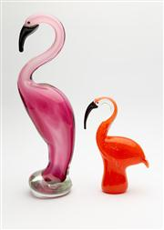 Sale 8703A - Lot 97 - Two art glass flamingoes, dynasty gallery 1951 (china) , taller Badash (china) Height approx 35cm