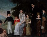Sale 8934H - Lot 62 - Continental School, Family Portrait in a Mountain Setting, early C19th, oil on canvas in hand-carved original frame ,measuring 167cm...