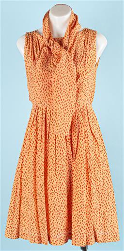 Sale 9091F - Lot 37 - A GORMAN ORANGE ON ORANGE SLEEVELESS DRESS;  with tie belt/scarf, 30% silk 70% cotton