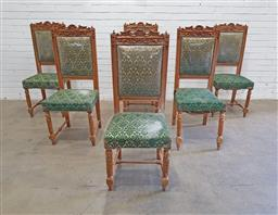 Sale 9146 - Lot 1031 - Set of six ornately carved and upholstered dining chairs - some damage - 178 (h112 x w47 x d43cm)