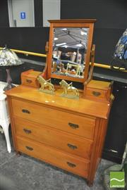 Sale 8352 - Lot 1002 - Pine Mirrored Back Dressing Chest