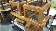 Sale 8371 - Lot 1051 - Graduated Three Piece Glass Insert Coffee Tables