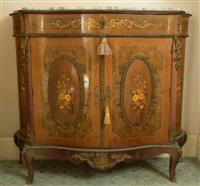 Sale 8392H - Lot 34 - A French walnut and marquetry inlaid  marble top serpentine two door cabinet with ormolu mounts on short cabriole legs, H 106 x W 12...