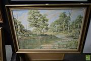Sale 8509 - Lot 2062 - Peter Vincent, Oil on Canvas, Cattle by the River, 50x75cm, signed verso