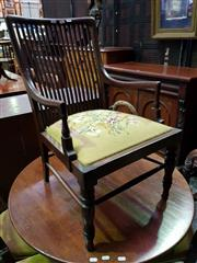 Sale 8653 - Lot 1058 - Edwardian Mahogany Armchair, of small proportions, with slatted back, tapestry seat & turned legs