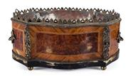 Sale 8660A - Lot 22 - An antique French Napoleon III marquetry inlaid table jardinière with metal liner, some damages/losses, 26 x 23 x 16cm
