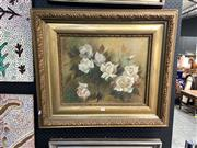 Sale 8878 - Lot 2053 - Rosa Leonard, White Roses, 1975, oil on canvas on board, 66.5 x 77cm, signed lower right