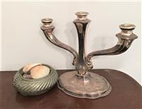 Sale 8934H - Lot 59 - An EP candelabrum together with  small soap dish containing shells