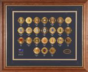 Sale 9035M - Lot 810 - Perth Mint Framed Official Olympic Games Emblem Medallion Set 1896-2000, limited ed no. 1873/5000, with certificate of authenticity...