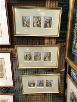 Sale 9147 - Lot 2067 - set of three Baxter oil prints, frame: 26 x 44 cm,