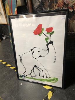 Sale 9152 - Lot 2076 - An original painting of an elephant holding roses, frame: 81 x 61 cm -