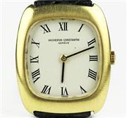 Sale 8402W - Lot 34 - VACHERON CONSTANTIN 18CT GOLD LADYS WRISTWATCH cushion shape case, cream matte dial with black Roman numerals on a manual wind 17 j...