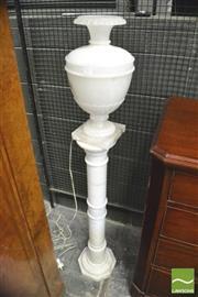 Sale 8390 - Lot 1017 - Turned Alabaster Urn Form Lamp & Antique Pedestal
