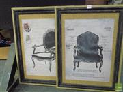 Sale 8406 - Lot 1076 - Pair of Framed Decorative Antique Chair Prints