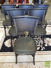 Sale 8462 - Lot 1090 - Set of Six Black Rattan Back Provincial Chairs