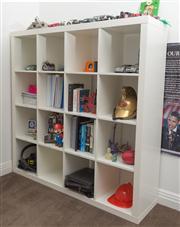 Sale 8575H - Lot 76 - An IKEA sixteen bay white bookcase H: 150cm W: 150cm D: 42cm