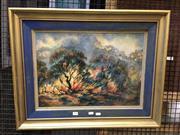 Sale 8750 - Lot 2040 - F. Ellis - Bush Fire oil on canvas on board, 70 x 55cm, signed lower left