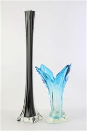 Sale 8818 - Lot 59 - Blue Glass Vase (H:27cm) Together With A Black Glass Thin Stem Example H: 50cm