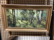 Sale 8878 - Lot 2059 - Davis J. Hardy, Morning Light on Young Gums, oil on canvas board, 35 x 60.5cm, signed lower left