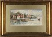 Sale 8936 - Lot 2030 - Frederick Flockton (1854 - 1909) River Thames near Pangbourne, Berkshire watercolour, 17 x 35cm, signed lower left -