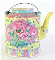 Sale 8989 - Lot 43 - A 20th Century Straits Famille Rose Teapot  (H24.5cm)