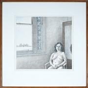 Sale 9087 - Lot 2007 - Brian Dunlop (1938 - 2009) Seated Nude colour lithograph, ed. 24/40, (frame: 81 x 81 x 2 cm) signed -